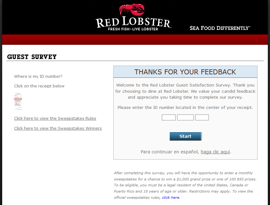 Redlobstersurvey: Finish Red Lobster Guest Satisfaction Survey At www.redlobstersurvey.com And Win $1000 Cash Prize