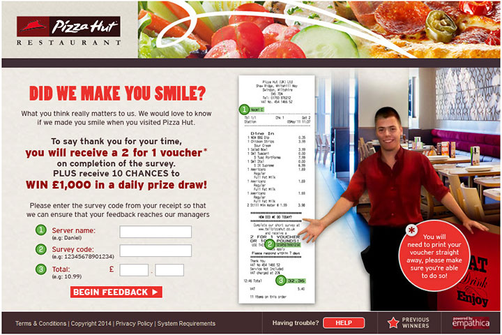 Finish The Official TellPizzaHut® Survey At www.tellpizzahut.com